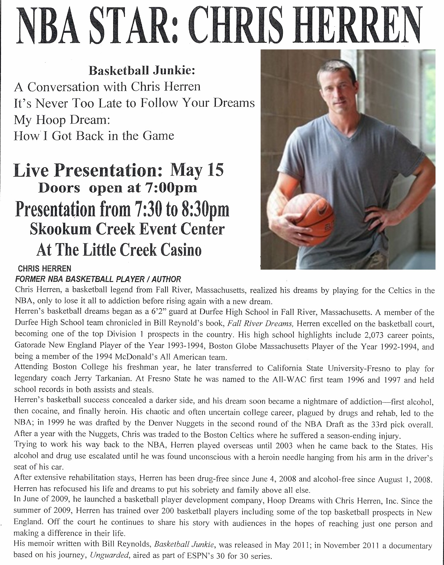 a biography and life work of chris herren an american basketball player Chris herren is a former nba basketball player for the denver nuggets and the boston celtics his company, hoop dreams with chris herren, inc, provides.