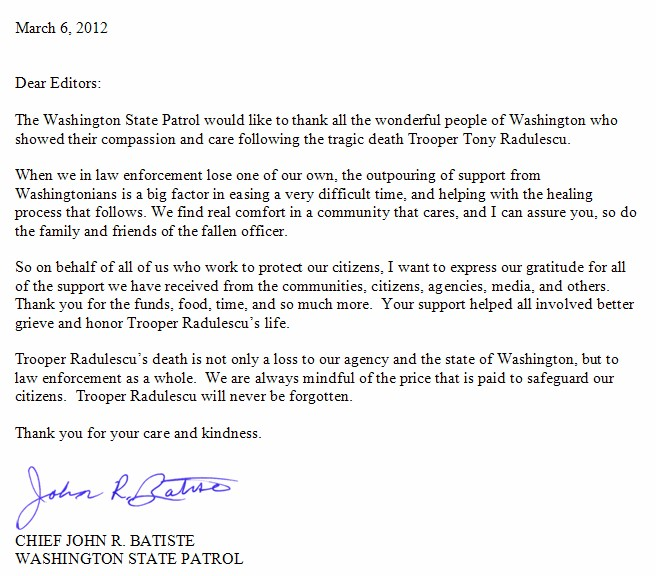 Thank You Letter from State Patrol Chief | | MasonWebTV.com