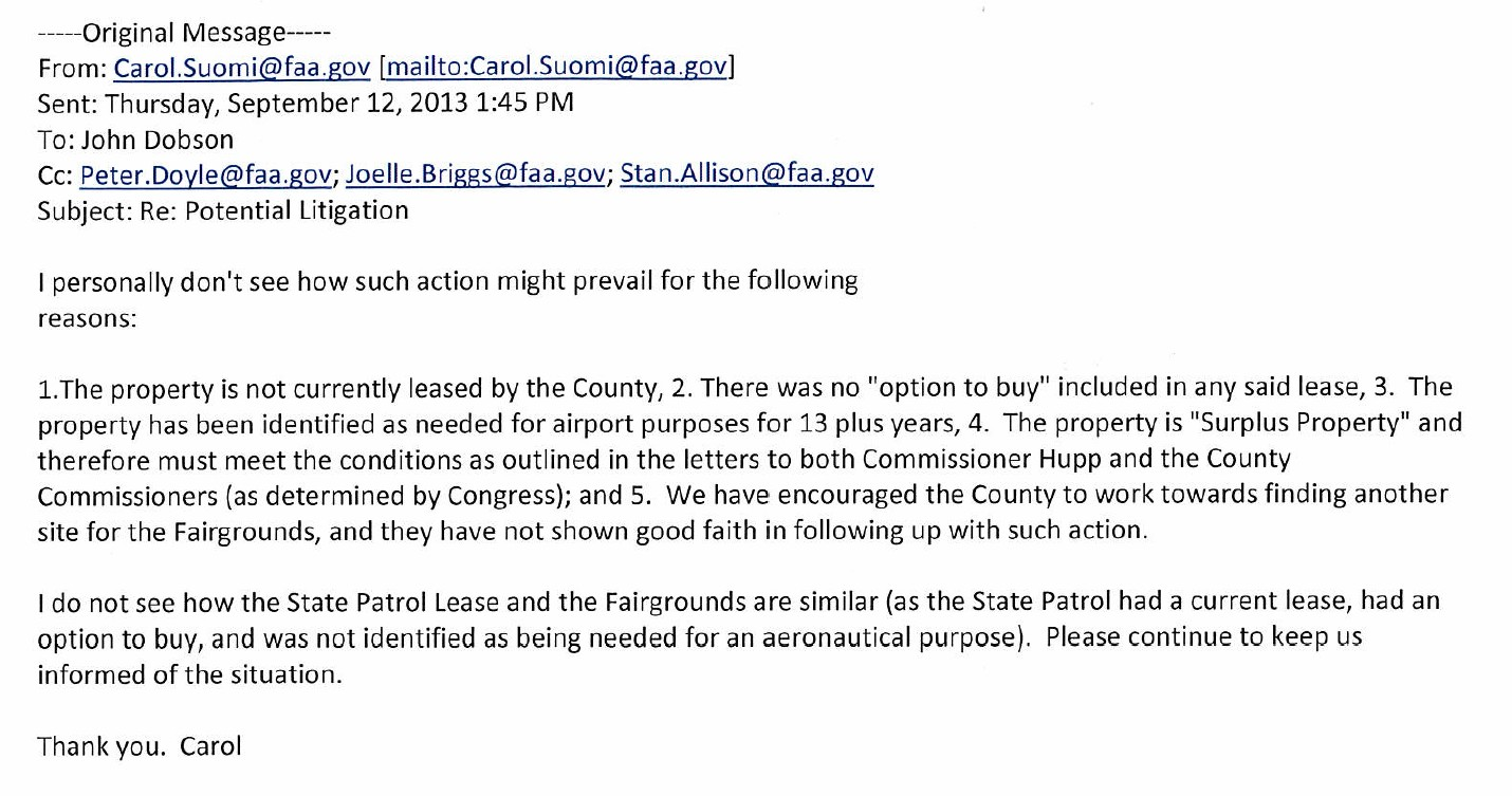 The Faa's Carol Suomi Responded To Dobson's Email Saying