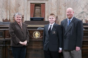 Rep. Maureen Walsh, House page Jackson Obert and father Scott Obert. CREDIT: Washington State Legislature.