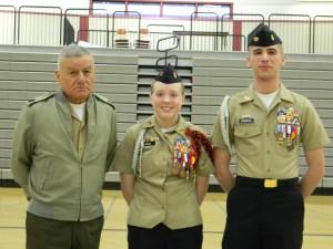 Left to Right:  Sgt. Major Dan Hernandez, Sarah Oakes, Asher Fewell.