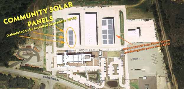 A satellite view of PUD 3's Johns Prairie Operations Center shows the existing 225-kilowatt solar power system (on the right) and a representation of the future 75-kilowatt community solar power system (on the left).
