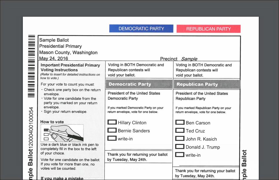 2016 prez prime sample ballot