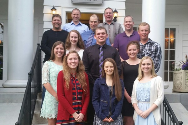 Front: Meghan Ranney, Mackenzie Geer, Sarah Myers Middle: Mikayla Smith, Tessa Blackstad, Zachary Schaumburg, Serena Ranney, Logan Zepp Top: Mark Reed Scholarship board members and Green Diamond employees - Jason Goldsby, John Ison, Glen Wood, Kirk Scoles and Rick Schmeling