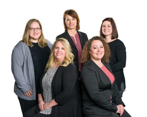 Finance Staff, L-R: Stephanie Schuffenhauer, Dani Leboki, Sherry Speaks, Dawn Myers, Sara Montalto.